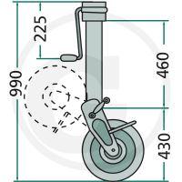 Opěrné kolo přívěsu Simol s boční klikou nosnost 1500 kg