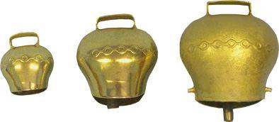 Pastevní zvonec plechový, pomosazený