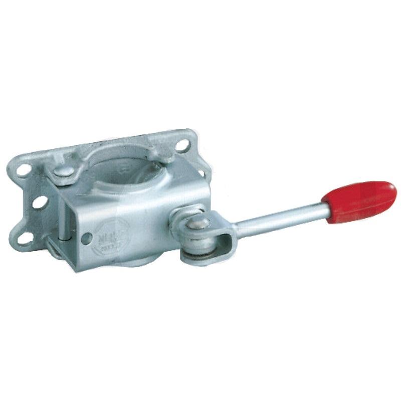 Držák opěrného kolečka AL-KO přívěsu pro trubku 48 mm, sklopná klika, litinová deska