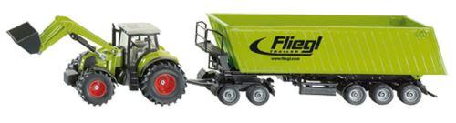 Siku - traktor s čelním nakladačem a sklápěcím přívěsem 1:50
