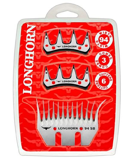 Farmářská sada širokých nožů Longhorn SB 35/94 mm na stříhání ovcí 3 spodní + 6 horních