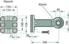 Original Rockinger Tažné oko s přírubou se 6 otvory tvar B DIN 11026 průměr 40 mm