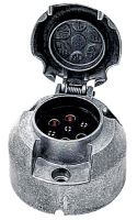 Zásuvka 7-pólová 12 V z lehkého kovu