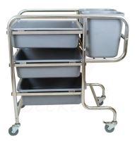 Úklidový vozík nerez Beeketal BHW-5 pojízdný 5 plastových nádob rozměry 770 x 465 x 895 mm
