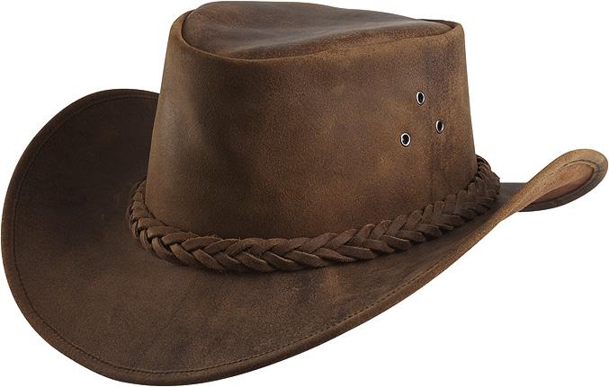 Westernový klobouk RANDOL'S Antique kožený hnědý XL