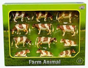 Kids Globe - krávy hnědobílé 12 ks v různých polohách v měřítku 1 : 32