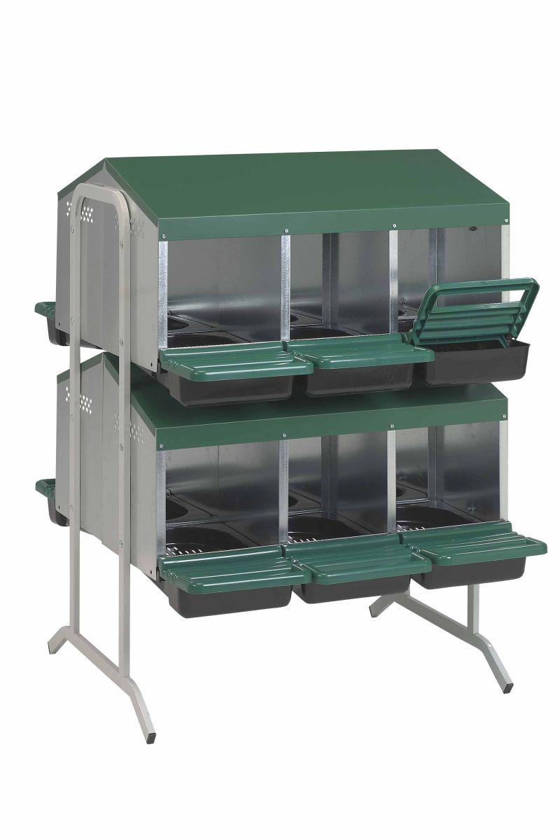 Baterie kukaní pro slepice 12-místná GAUN s plastovým víkem 3 kukaně ve 2 patrech dvojitě