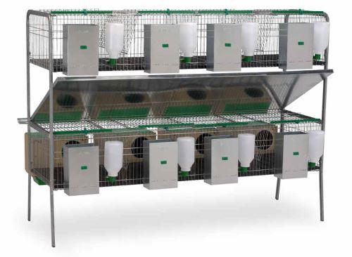 Klecový kotec pro králíky Silleda dvoupatrový s 8 kotci