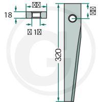 Hřeb do rotačních bran vhodný pro Kuhn HR 180, 240, 250, 300, 360, 400, 450, HRB 20, 25
