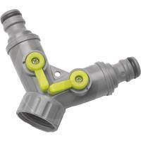 """Plastový hadicový ventil 3-cestný pro připojení 2 zahradních hadic ke kohoutu 3/4"""""""
