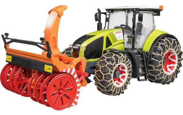 Bruder - traktor - CLAAS AXION 950 s frézou a sněhovými řetězy